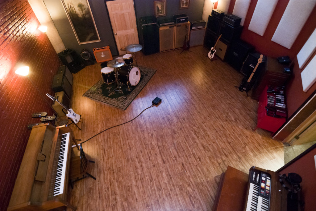 An aerial view of a drum room set-up