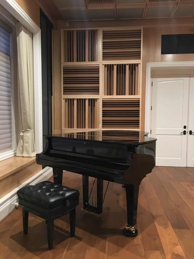 An acoustic treatment for a piano room
