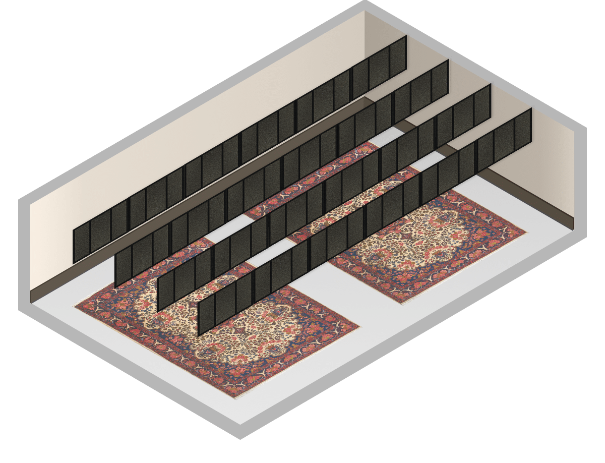 Horizontal positioning of acoustic foam panels