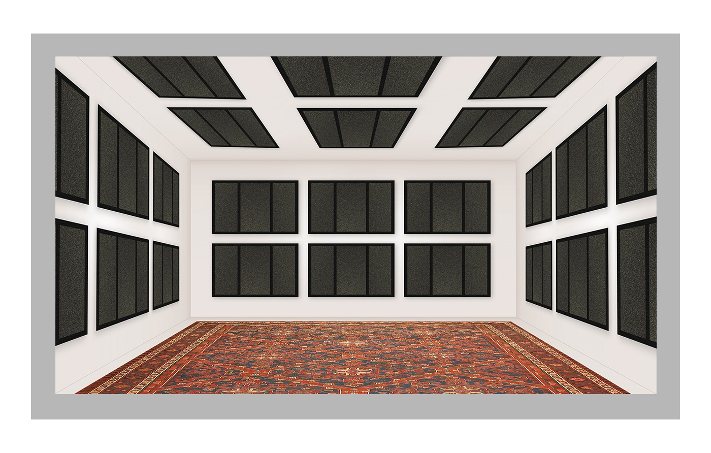 positioning of acoustic foam panels on the walls and ceiling