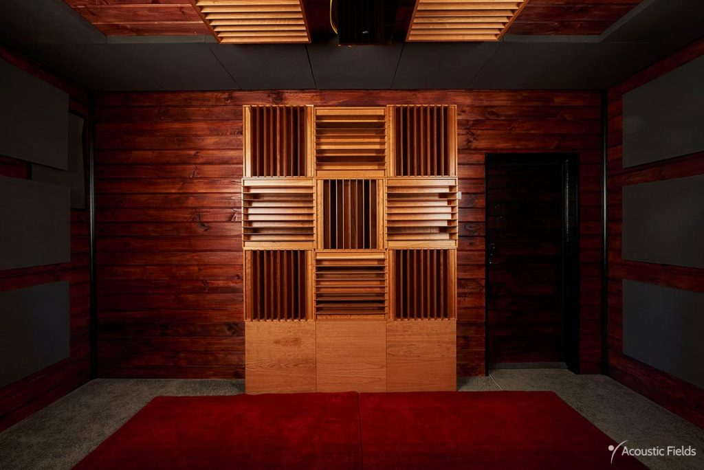 sound diffusers placed on rear wall in home theater