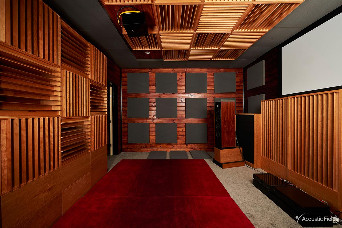 image of acoustic foam placed on a wall in home theater