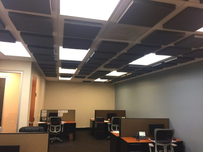 photo of bureu with acoustic foam tiles on ceiling