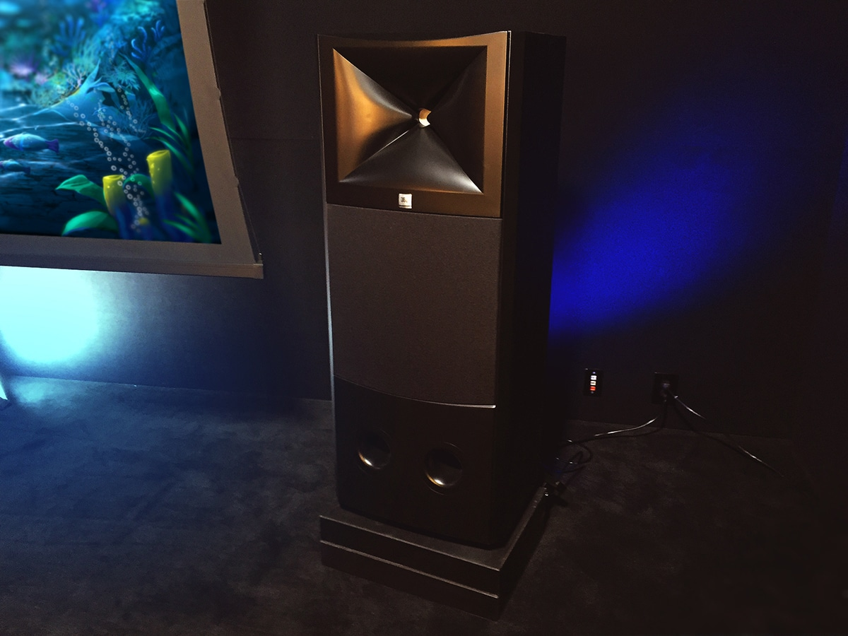 dolby atmos speaker on acoustic fields activated carbon platform at westlake pro