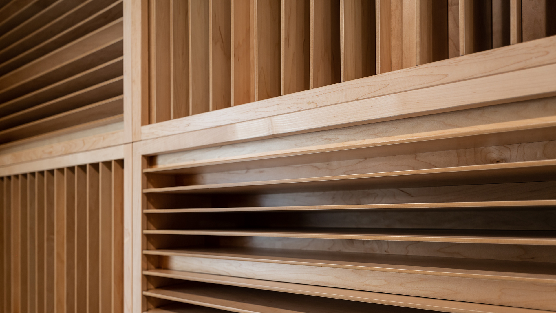 close up of wooden sound diffusers