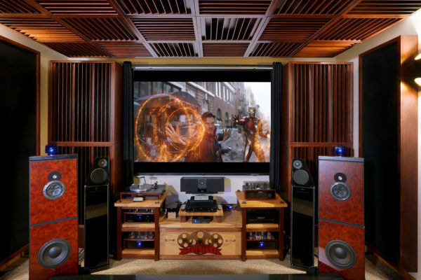 home theater with sound diffusers and screen