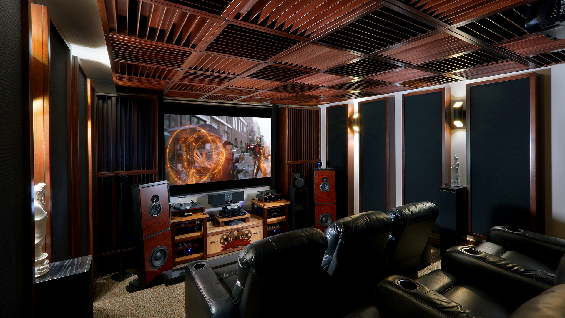 home theaters with acoustic treatment