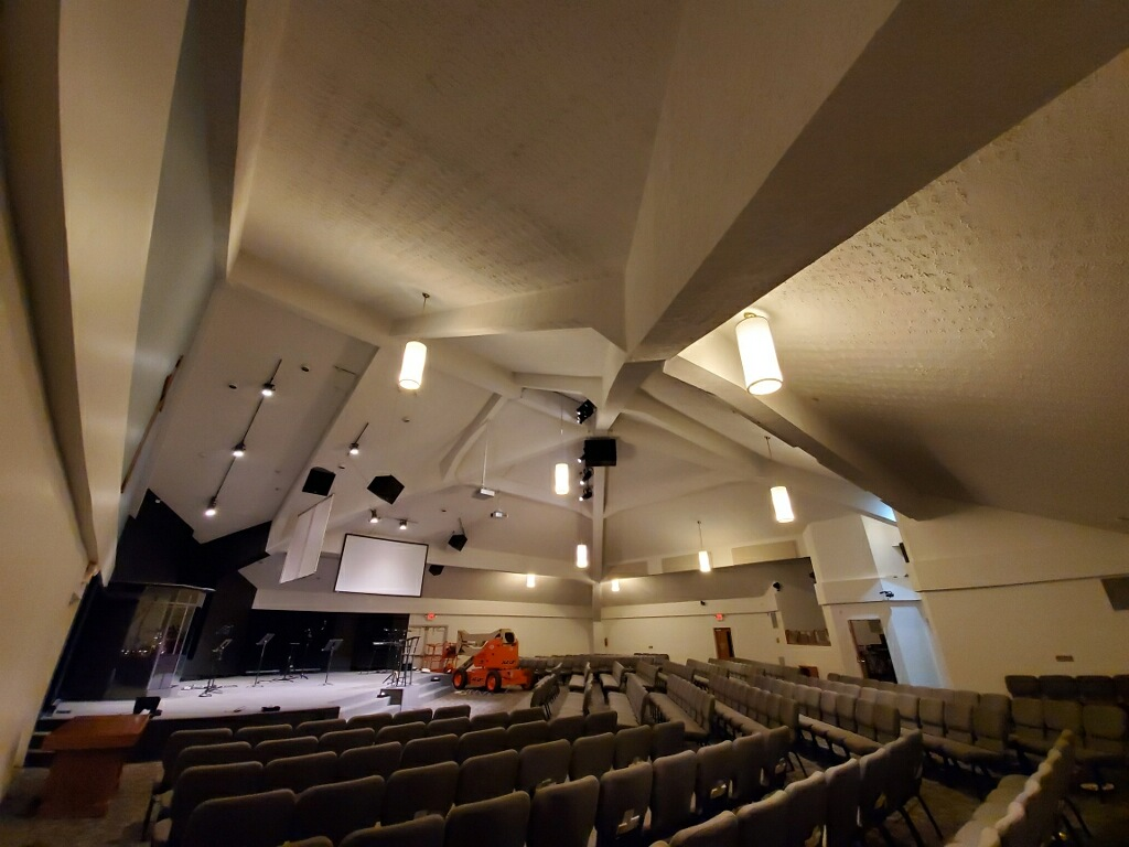 church interior prior to acoustic treatment