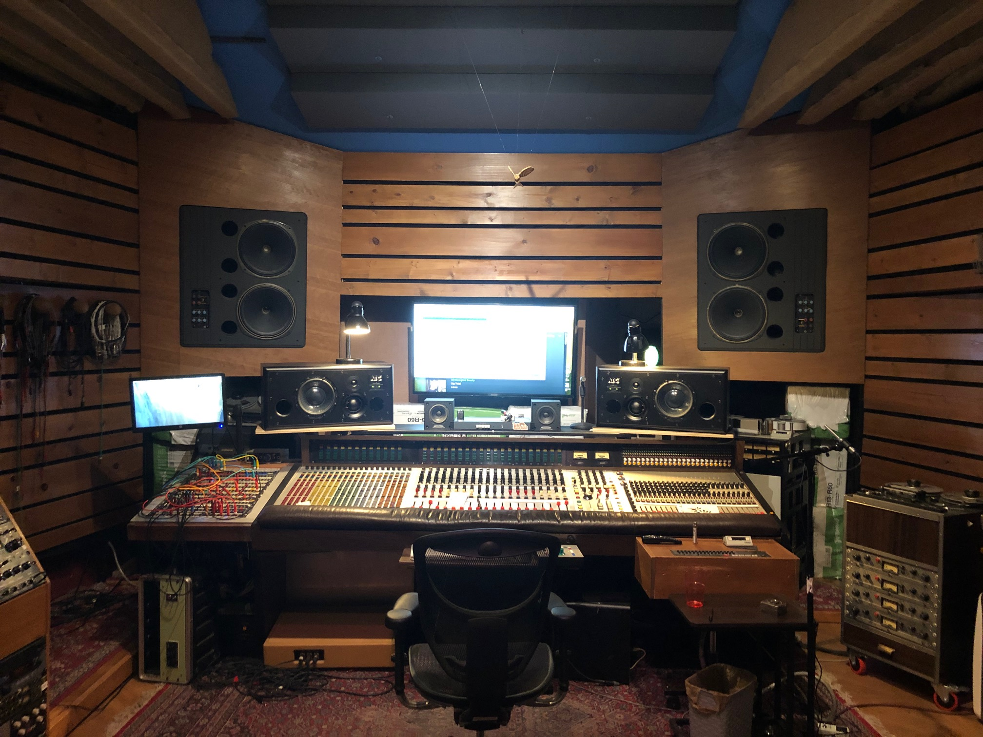 photo of mixing room with acoustic treatment