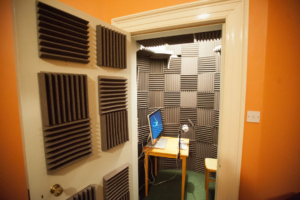vocal booth with acoustic foam panels