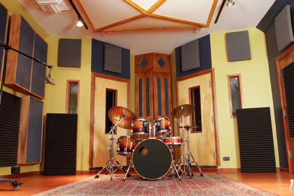 drum room with acoustic foam panels on wall