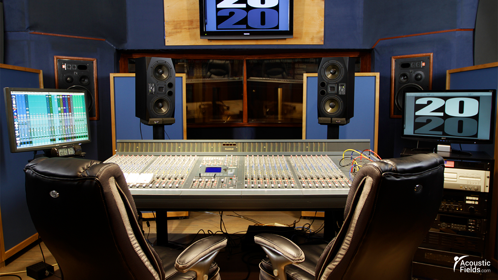 acda bass absorbers behind monitors in mixing room