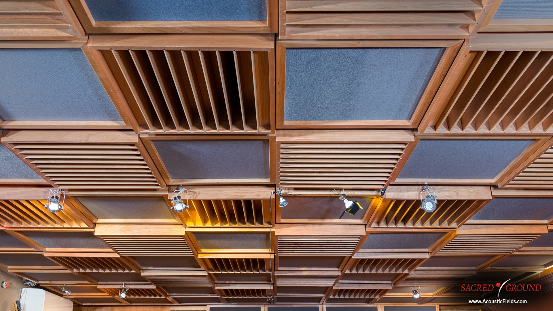 Acoustic ceiling treatment at sacred ground studios in hollywood